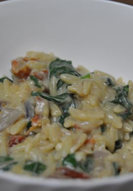 Orzo Risotto with Sun Dried Tomatoes and Spinach