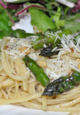 Asparagus with Linguine and Pine Nuts