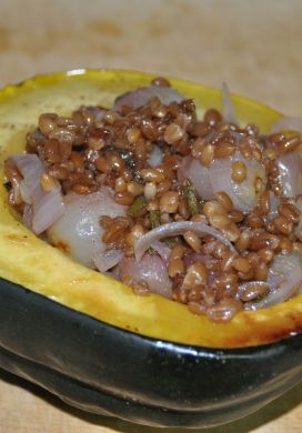 Acorn Squash Stuffed with Wheatberries and Grapes