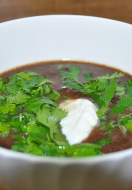 Black Bean Soup with Cilantro and Lime