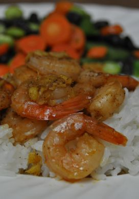 Plumped Ginger-Caramel Shrimp for Two