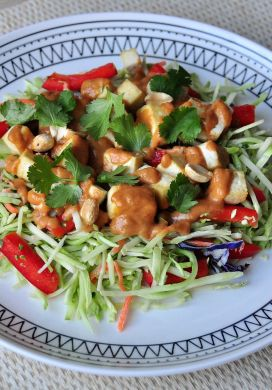 Broccoli Slaw Salad with Baked Tofu and Peanut Dressing
