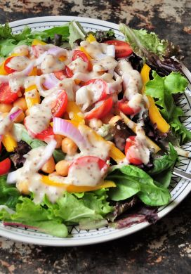 Chickpea and Summer Vegetable Salad with Yogurt Honey Mustard Dressing