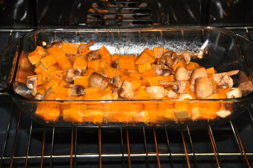 Butternut Squash with Gnocchi and Mushrooms Baking