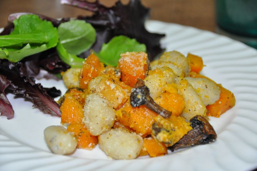 Butternut Squash with Gnocchi and Mushrooms