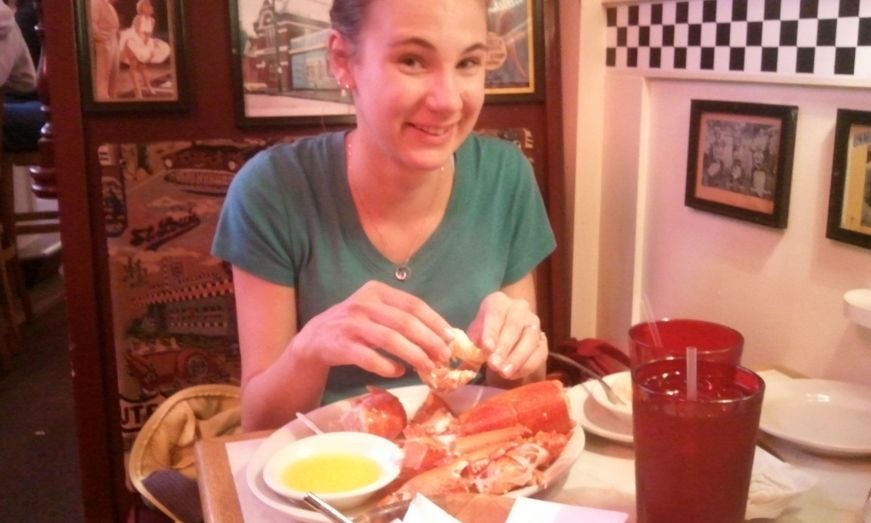 Eating my first boiled lobster in Bar Harbor