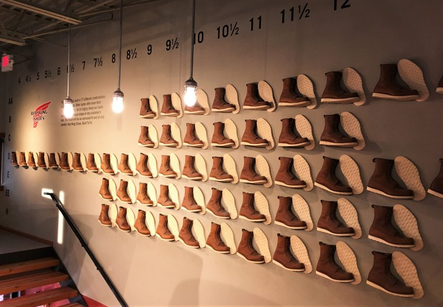 Boot size display at the Red Wing Shoe Museum