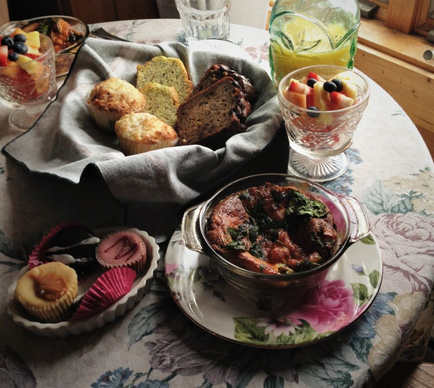 Quiche, basket of pastries, and cups of fruit on table, Cover Park Manor, Stillwater, Minnesota
