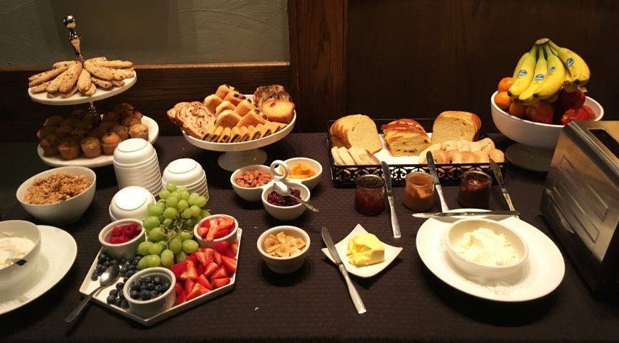 Breakfast buffet with pastries and fruit, Black Hawk Hotel, Cedar Falls, Iowa