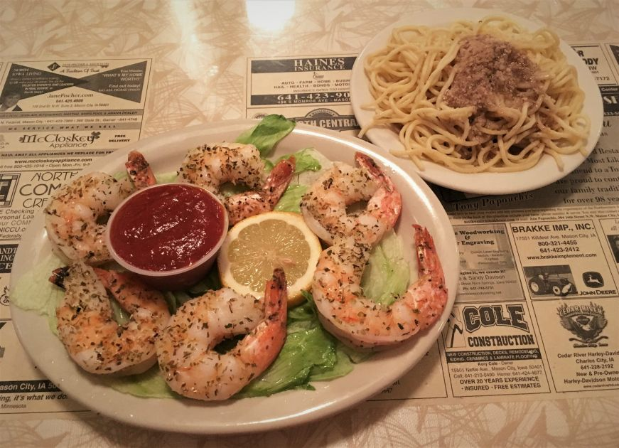 Broiled shrimp and spaghetti, Northwestern Steakhouse, Mason City
