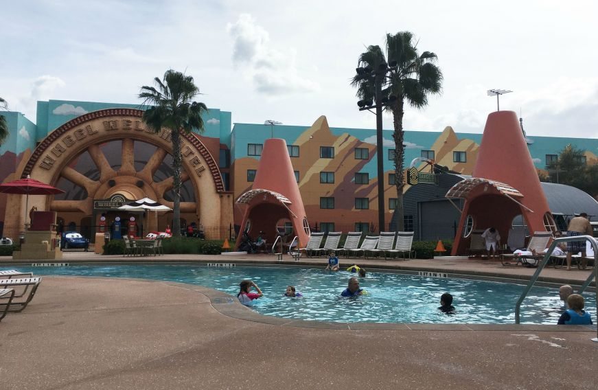 Cars-themed pool with Cozy Cone pool cabanas, Art of Animation Resort, Walt Disney World