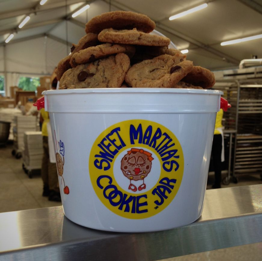 Heaping bucket of Sweet Martha's chocolate chip cookies