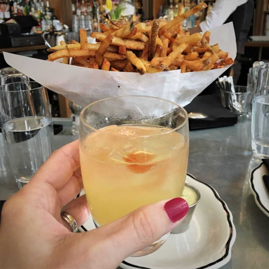 Cocktail and pommes frites, Meritage, St. Paul