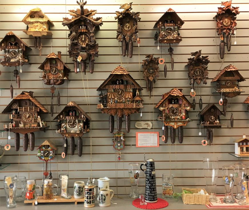Cuckoo clocks at the Guten Tag Haus, New Ulm