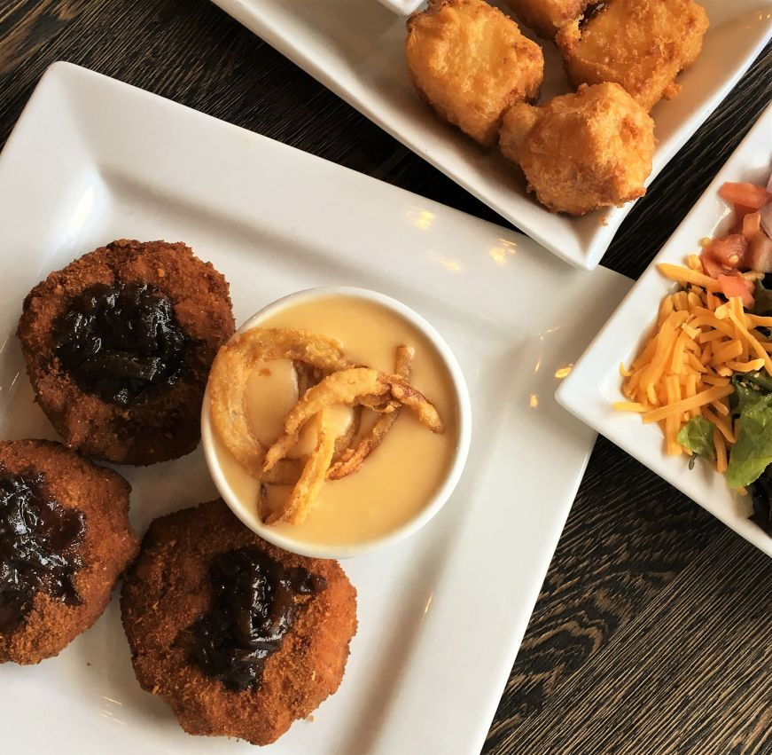 Vegan garden fresh croquettes, beer cheese bisque, and cheese curds, David Reay's