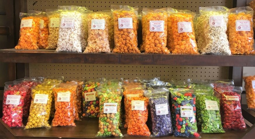 Flavored popcorn at Sandy's Popper, Kenosha