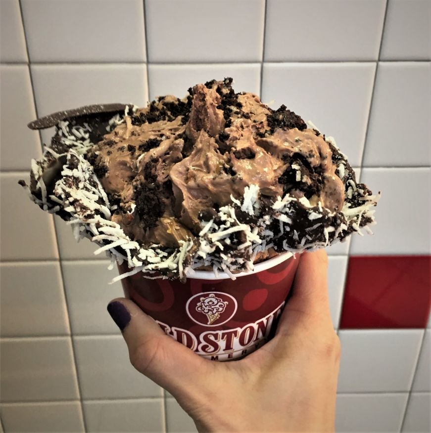 Germanchökolätekäke in a coconut waffle bowl, Cold Stone Creamery