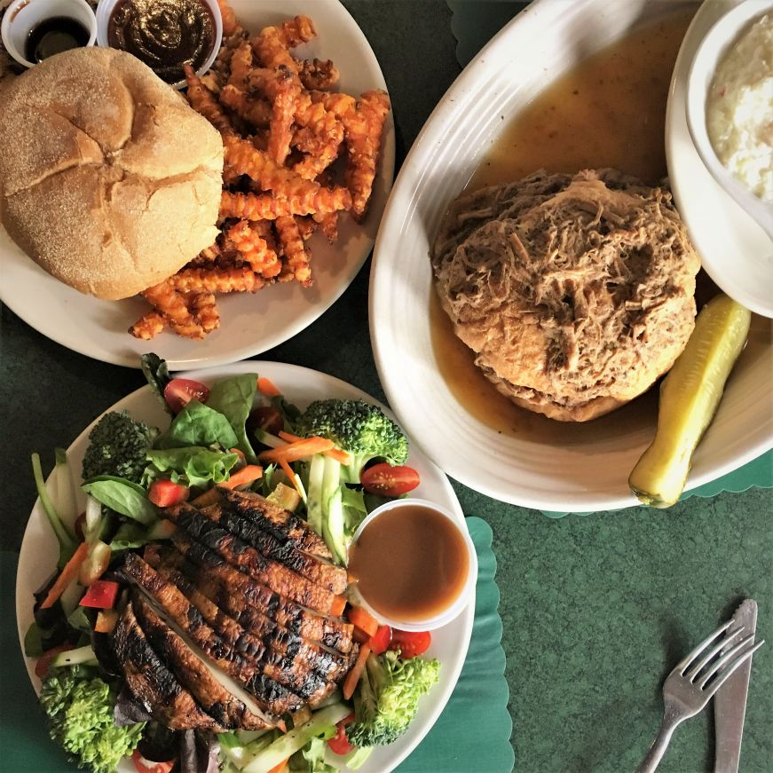 Portobello mushroom salad, Kalua pig sandwich, and hot beef, TG's Restaurant & Pub, Kenosha