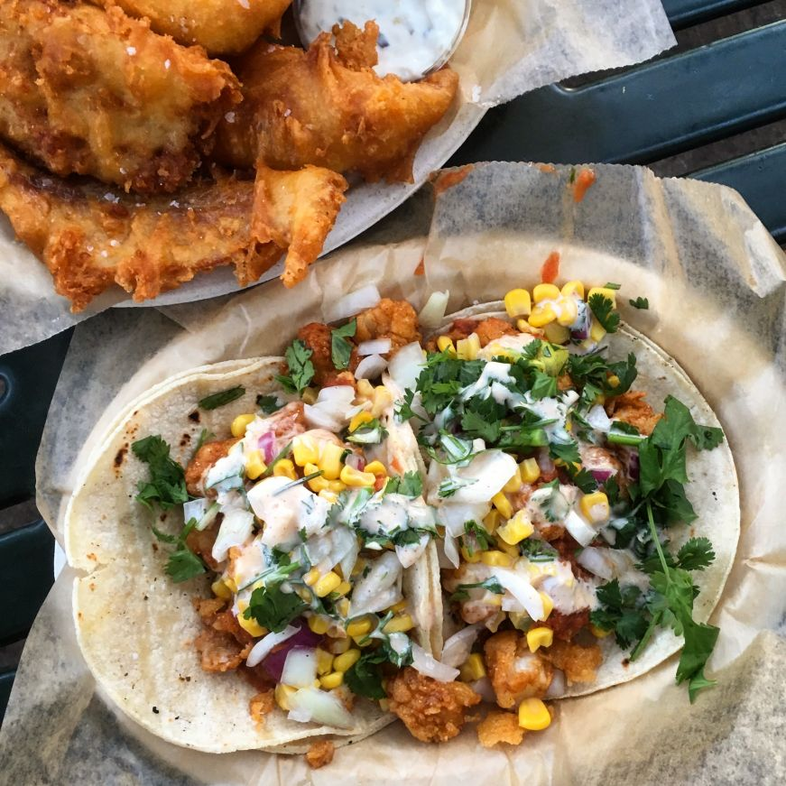 Fried Bay Scallop Tacos and Fish & Chips, Sea Salt Eatery