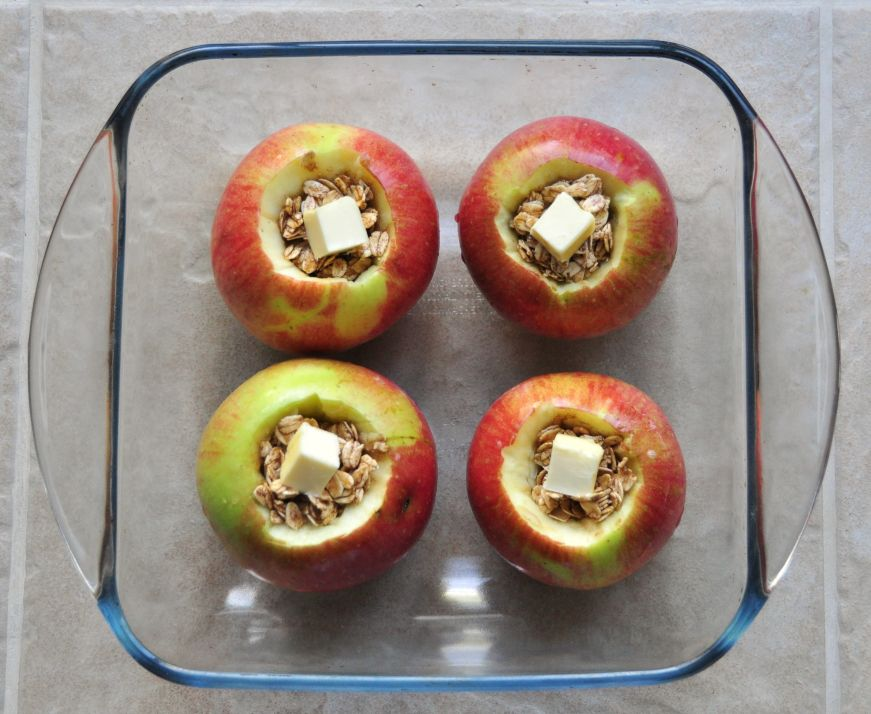 Baked Apples with Oatmeal and Brown Sugar Before Baking
