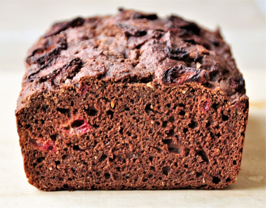 Chocolate Strawberry Bread cross section