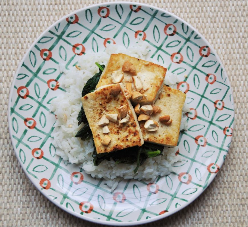 Seared Tofu with Mango Spinach