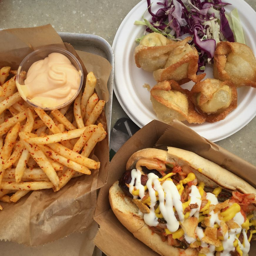 Korean chili fries, cream cheese wontons, and bacon wrapped hot dog, The Lexington, St. Paul