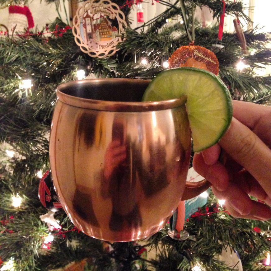 Moscow Mule in front of the Christmas tree