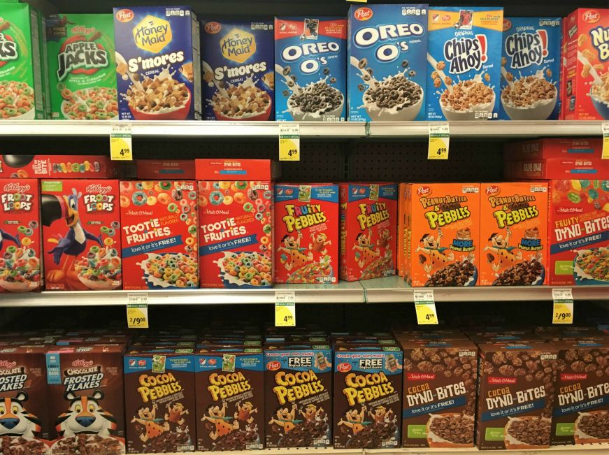 Grocery store shelves with dozens of boxes of breakfast cereal, Hawaii