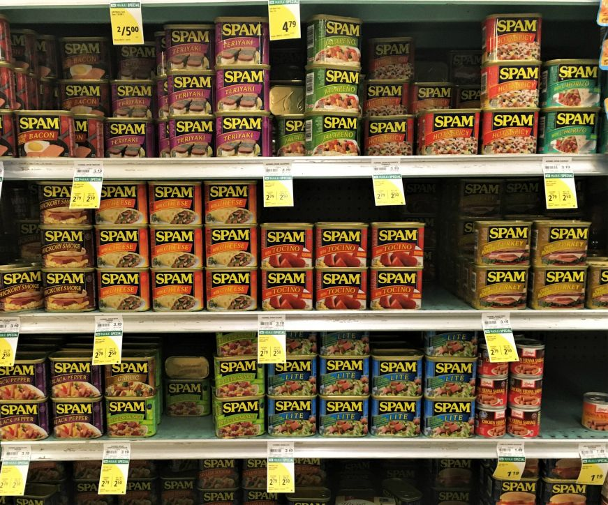 Grocery store shelves with several varieties of Spam, Hawaii