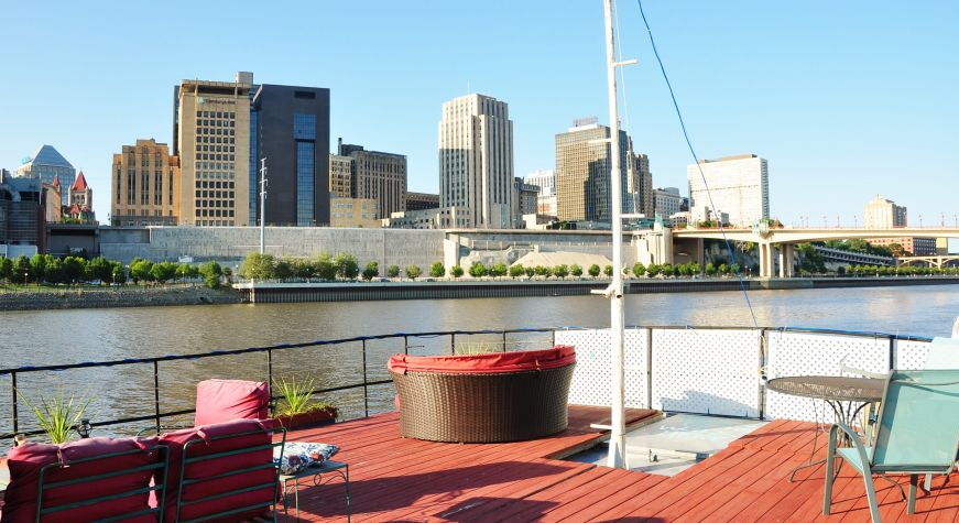 View of St. Paul skyline from the top deck of a boat, Covington Inn, St. Paul, Minnesota