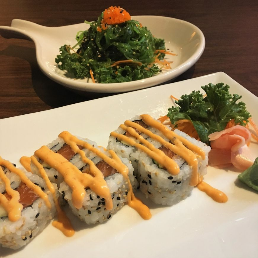 Spicy salmon roll and seaweed salad, Thai Bistro, Mason City
