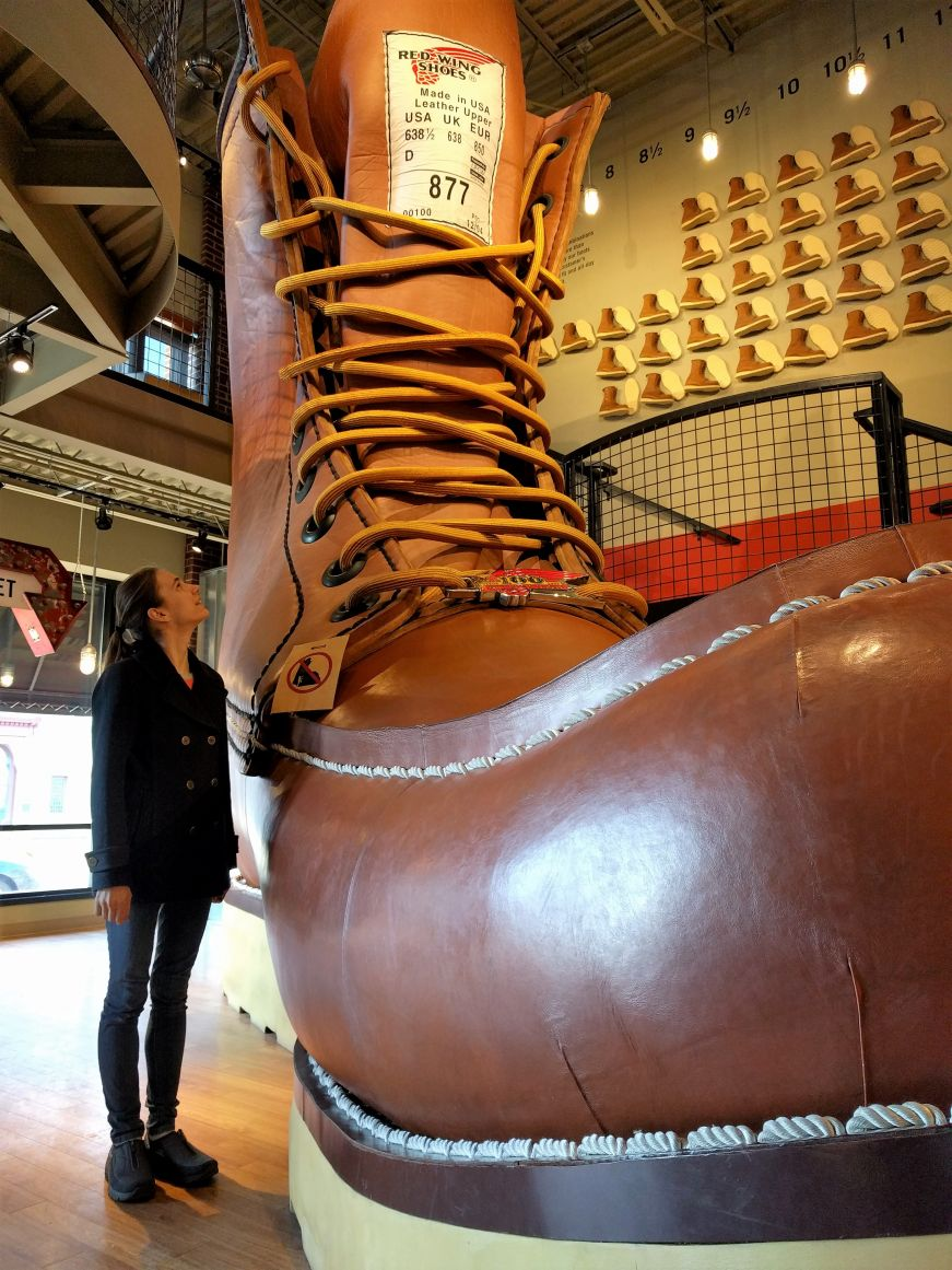 Stacy with the World's Largest Boot, Red Wing Shoes