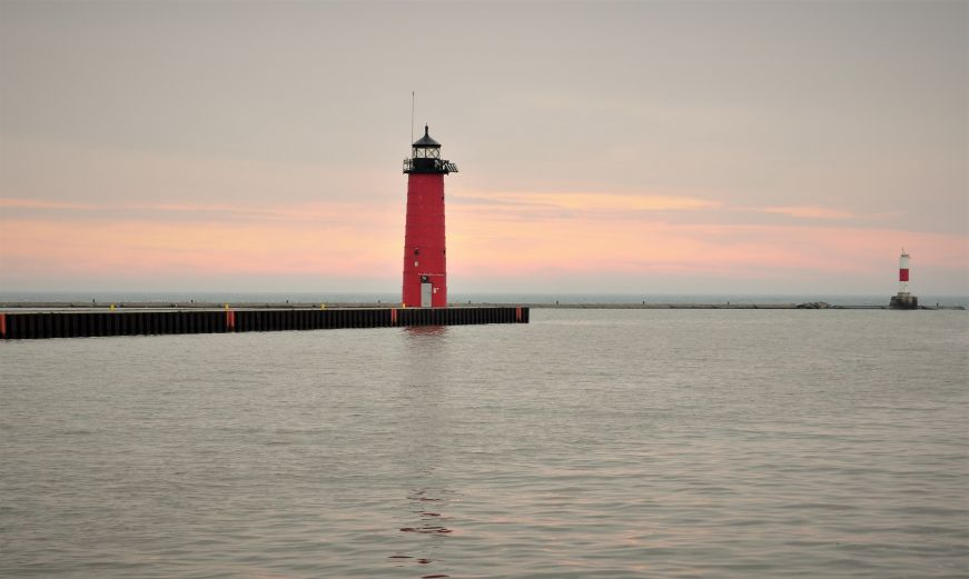 Sunrise at North Pier Lighthouse, Kenosha harbor