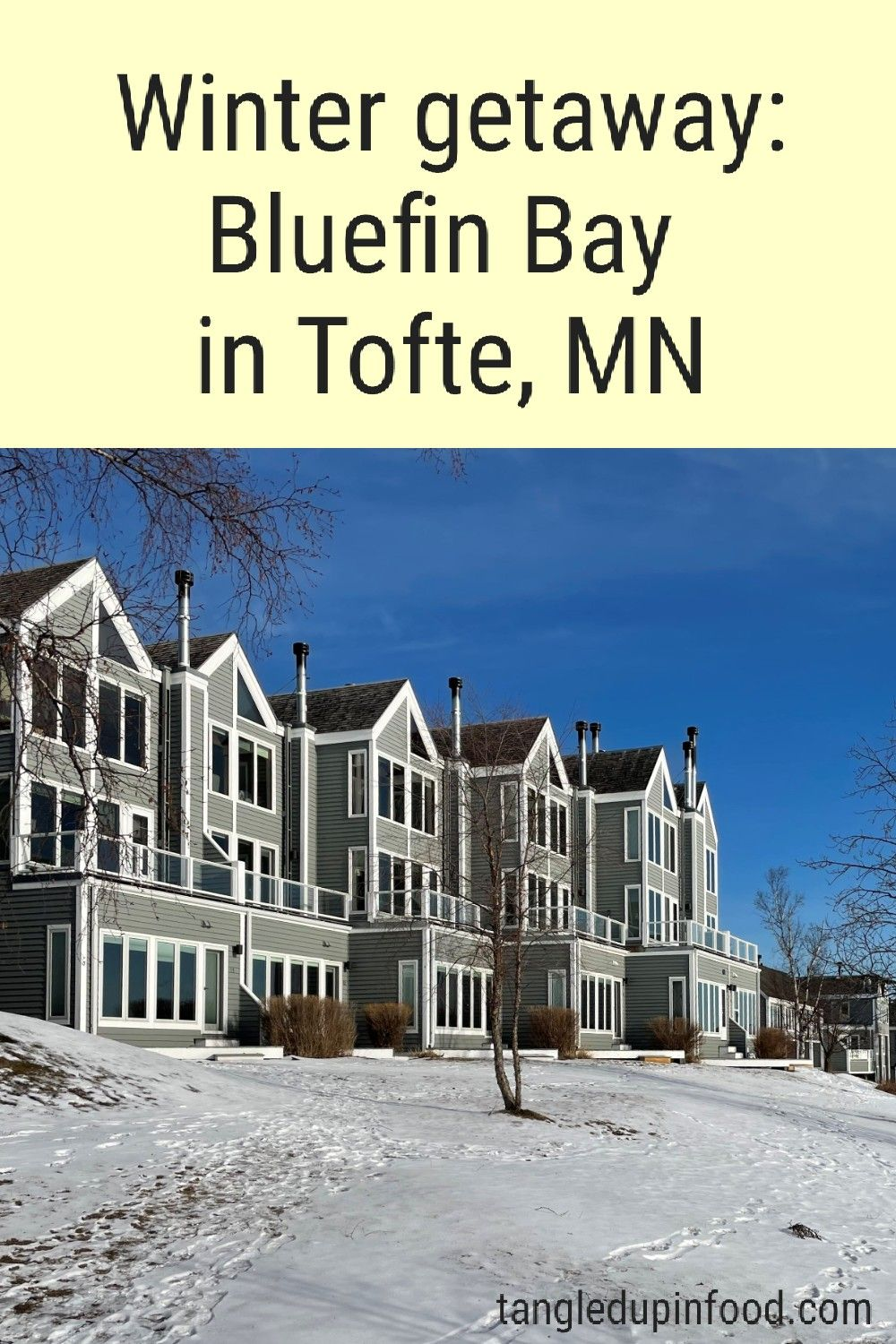 "Row of lakeside townhomes with text reading ""Winter getaway: Bluefin Bay in Tofte, MN"""