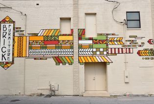 Frank Lloyd Wright inspired mural, Mason City, Iowa