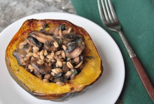 Acorn Stuffed Squash with Farro, Mushrooms, and Sage