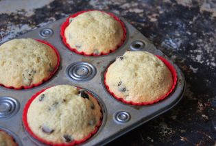 Chocolate chip muffins in tin