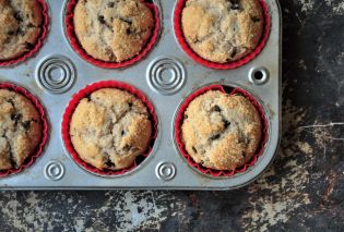 Cinnamon Chocolate Chip Muffins in muffin tin