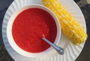 Cold Tomato Soup with Corn-on-the-Cob