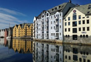 Colorful warehouses in the Alesund harbor