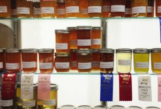 Shelves of jams and jellies