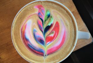 Rainbow latte art at Cafe Astoria