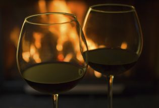 Wine glasses with fireplace